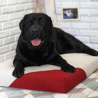 Лежак для собаки - Бежевый с красным